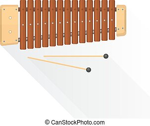 color flat style vector wood xylophone with sticks on white...