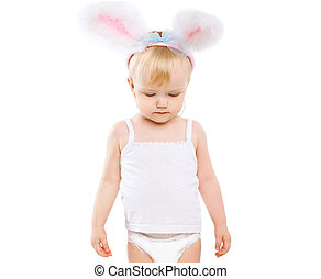 Cute baby in costume easter bunny