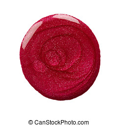 Blot of nail polish - Round blot of red nail polish isolated...