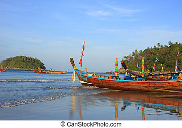 Longtail boats, Thailand - Longtail boats on the beach in...