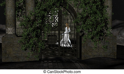 Magic Witch of the Night. Fantastic Princess inside Crypt -...
