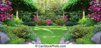 Garden - Beautiful park garden in spring