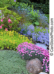 Spring flowers - Beautiful garden of spring flowers Shallow...