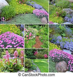 primavera, Jardines, collage,