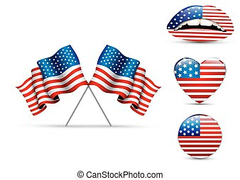 Set of American flags of different shapes