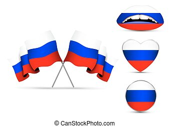 Set of Russian flags