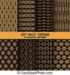 Art Deco Vintage Patterns - 8 Seanless Backgrounds - in...