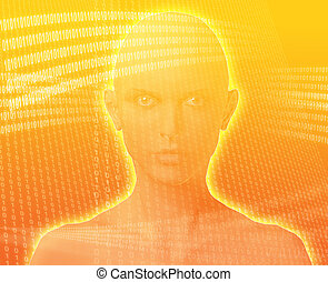 Digital woman - A woman\'s face, surrounded by digital...