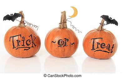 Trick or treat pumpkins - Three small trick or treat...