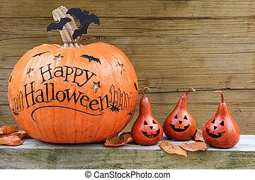 Halloween pumpkins - Happy Halloween pumpkin display