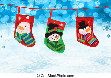 Christmas stockings - Three hanging Christmas snowman...