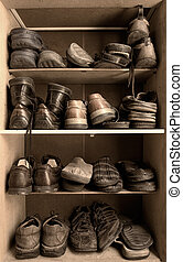 Shoes box - Toned image of an old wooden shoes box with a...