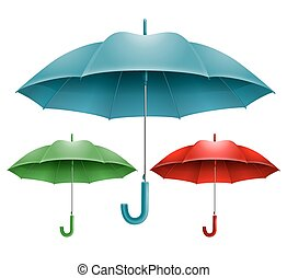 Umbrella - Set of three open umbrella in different colors...