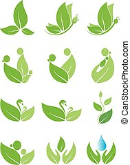 Vector - Green leaf logos - Set of 12 creative concept of...