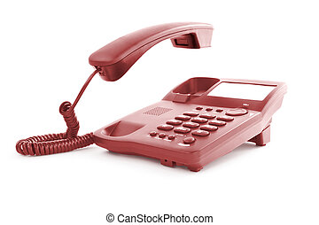 office phone with the handset in motion - red office phone...