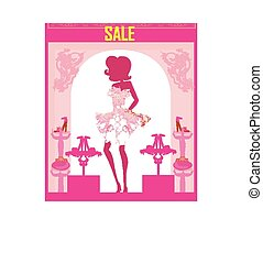 Fashion girl shopping in shoe shop , abstract sale card