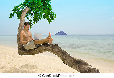 Beach laptop vacation - Attractive man with laptop seated in...