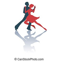 Tango - Illustration of tango dancers pair silhouettes with...