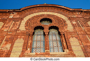windows of old synagogue in Uzhgorod, Zakarpattia -...