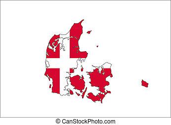 denmark flag map - denmark country flag map shape national...