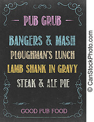 PUB GRUB MENU - Chalkboard with PUB GRUB MENU Hand Drawn in...