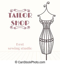 Vintage iron mannequin. Tailor shop background with place...