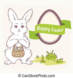 Easter set. White bunny with basket, egg label and ribbon