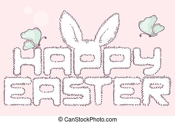Happy easter fur inscription Hand drawn headline Event card...