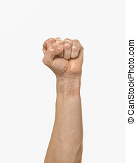 Clenched fist. - An arm extended with a clenched fist.