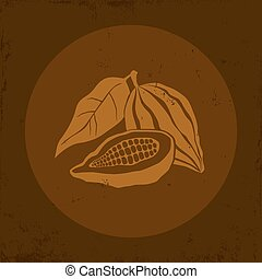 Cocoa - Illustration of a Cocoa bean in brown background