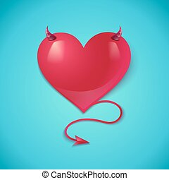 heart with tail and horns - Illustration of a devil heart...