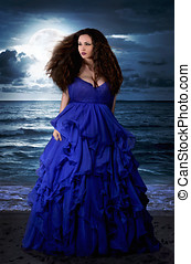 Mysterious woman in blue dress - Beautiful Mysterious woman...