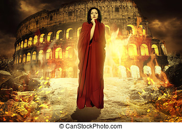 Beautiful woman at Roman coloseum - Beautiful woman in fire...