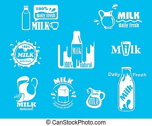 Dairy and milk icons on turquoise blue