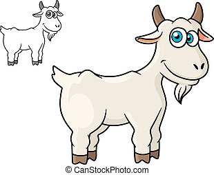 Cartoon horned farm goat isolated on white background for...