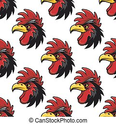 Cartoon cock or rooster seamless pattern with a repeat motif...