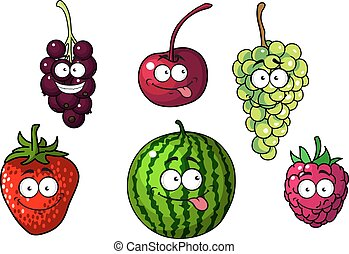 Cute happy colorful cartoon fruits and berries depicting a...