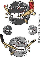 Angry evil hockey puck chomping a stick - Angry evil hockey...