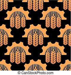 Seamless pattern of ears and gears