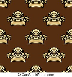 Seamless background pattern of a heraldic crowns
