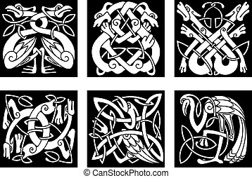 Birds and animals in celtic ornament - White on black...