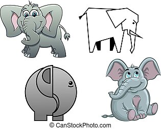 Cute cartoon baby elephants , two in profile and two facing...