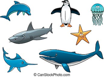 Marine wildlife colored animal characters in vector...