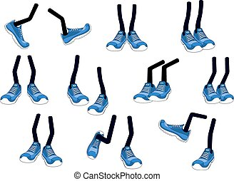Cartoon vector walking feet in sneakers - Cartoon vector...