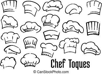 요리사, 모자, 와..., toques, 세트,