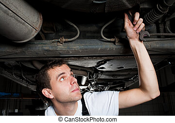 closeup of mechanic working below car with wrench