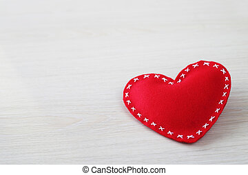 Valentines day heart on wooden background with copy space