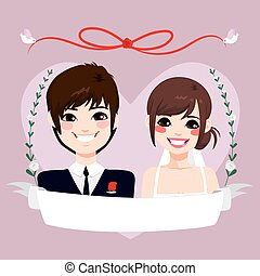 Save The Date Asian Couple