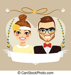 Save The Date Hipster Couple