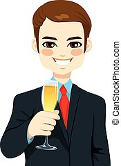 Successful Young Businessman Toasting Champagne